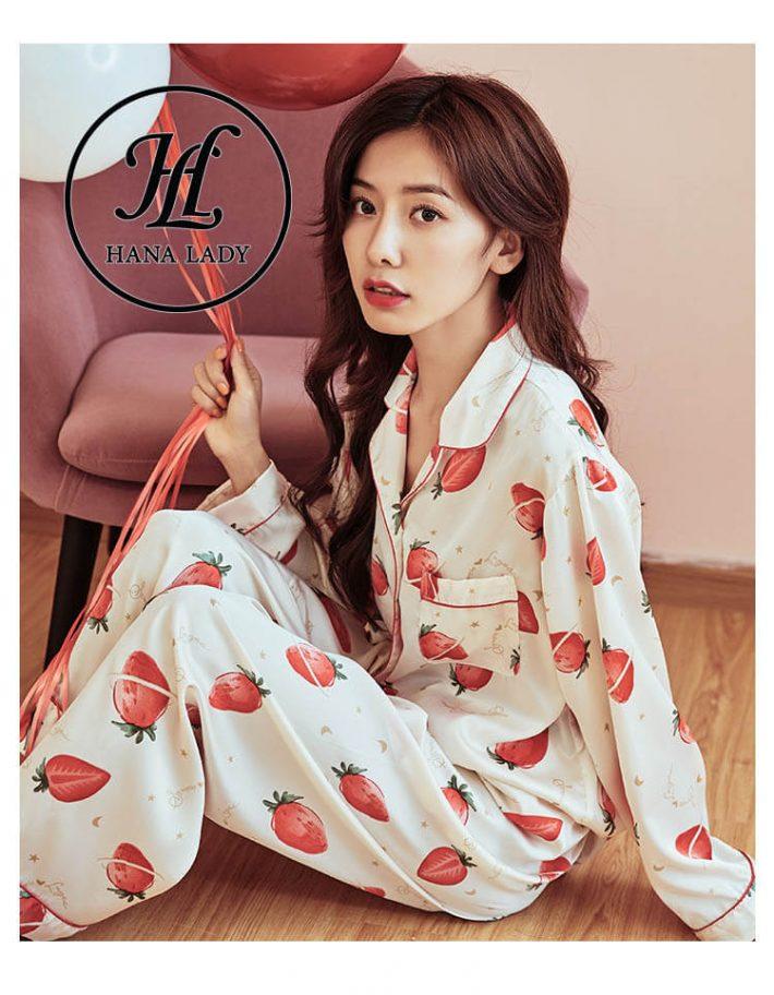 Đồ ngủ pijama lụa tằm họa tiết strawberry PJ180 7