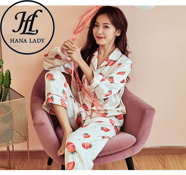 Đồ ngủ pijama lụa tằm họa tiết strawberry PJ180 6