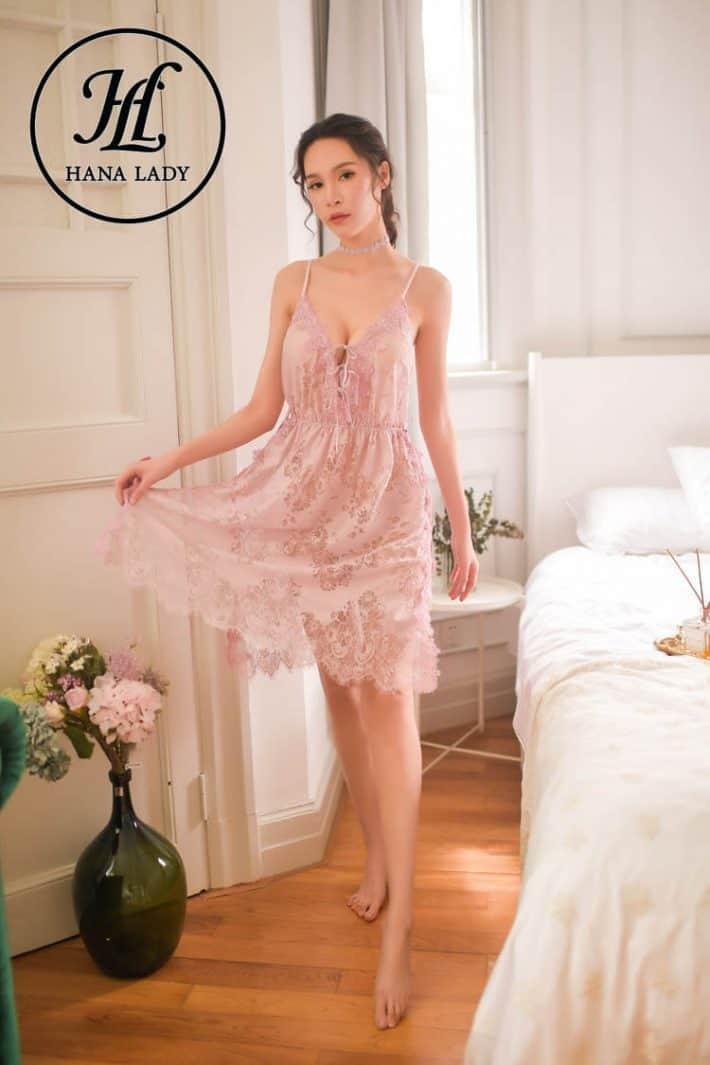 Váy ngủ ren hoa xẻ tà sexy VN277 7