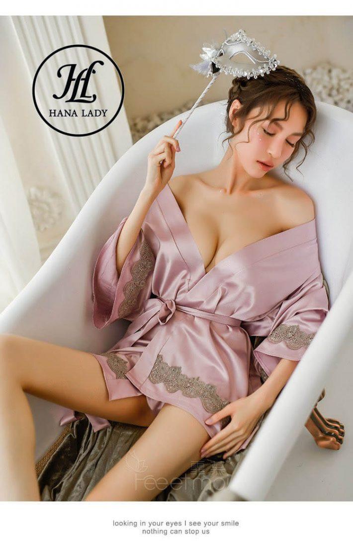 Áo choàng ngủ lụa quyến rũ cao cấp VN283 5