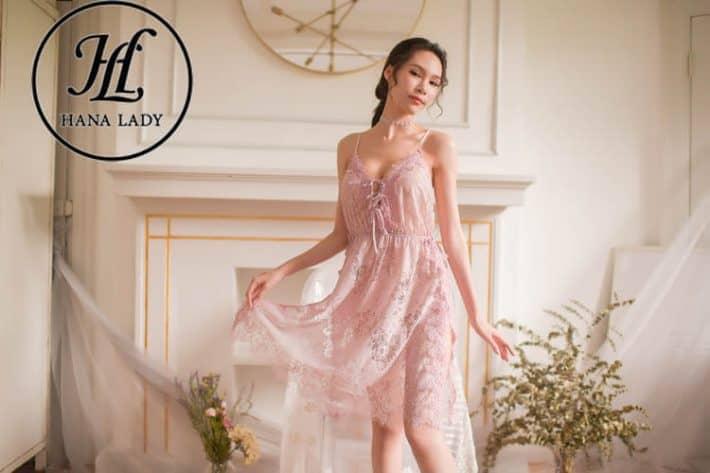 Váy ngủ ren hoa xẻ tà sexy VN277 5