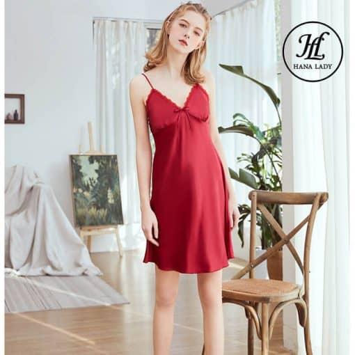 Váy ngủ lụa basic cao cấp đỏ VN291 3