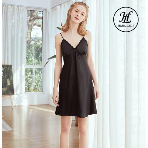 Váy ngủ lụa basic đen cao cấp VN291B 3
