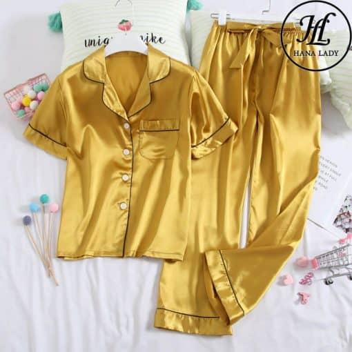 Pijama lụa vàng trơn cao cấp PJ189 3