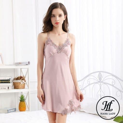 Váy ngủ lụa phối ren (kèm mút ngực rời) VN287 6