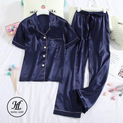 Pijama lụa xanh tay cộc cao cấp PJ191 3