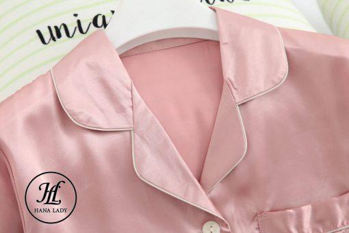 Pijama lụa cao cấp tay cộc hồng PJ192 7