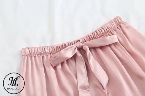 Pijama lụa cao cấp tay cộc hồng PJ192 6