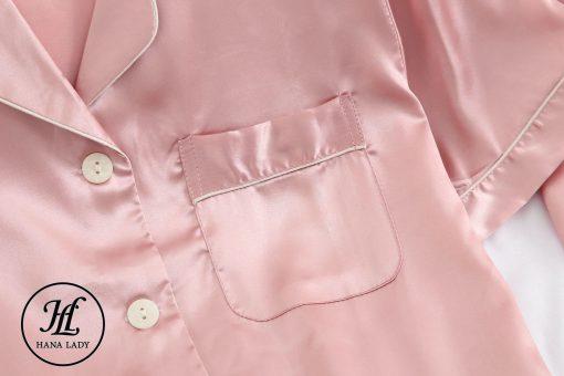 Pijama lụa cao cấp tay cộc hồng PJ192 5