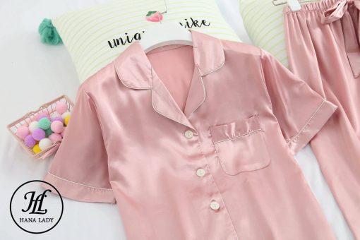 Pijama lụa cao cấp tay cộc hồng PJ192 4