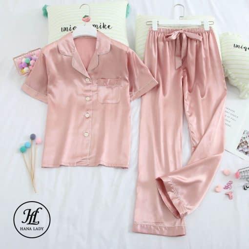 Pijama lụa cao cấp tay cộc hồng PJ192 3