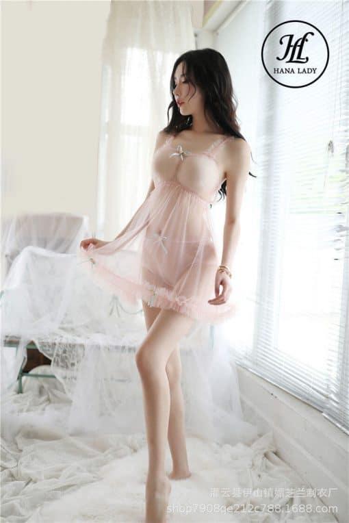 Váy ngủ xuyên thấu hoa hồng phấn VN289 9