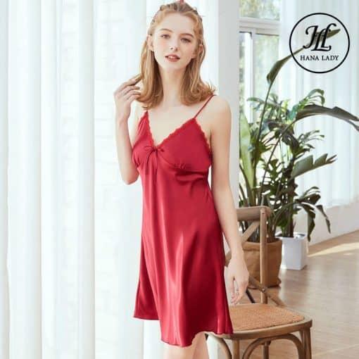 Váy ngủ lụa basic cao cấp đỏ VN291 5