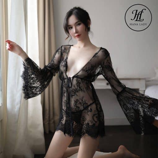 Áo ngủ choàng ren mềm mịn sexy VN296 8
