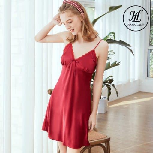 Váy ngủ lụa basic cao cấp đỏ VN291 6