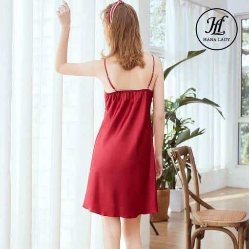 Váy ngủ lụa basic cao cấp đỏ VN291 4