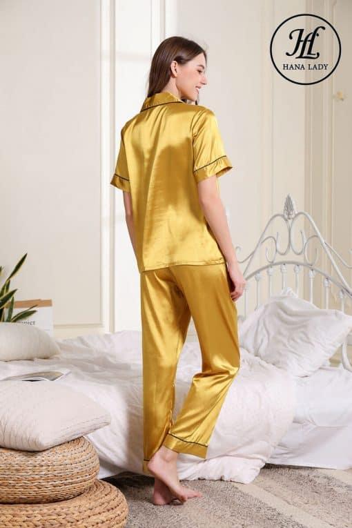 Pijama lụa vàng trơn cao cấp PJ189 5