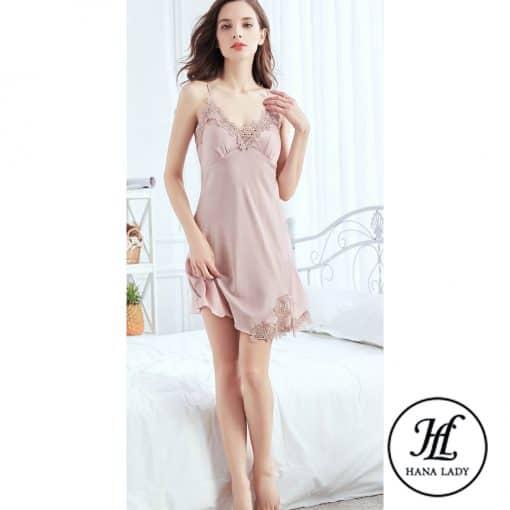 Váy ngủ lụa phối ren (kèm mút ngực rời) VN287 5