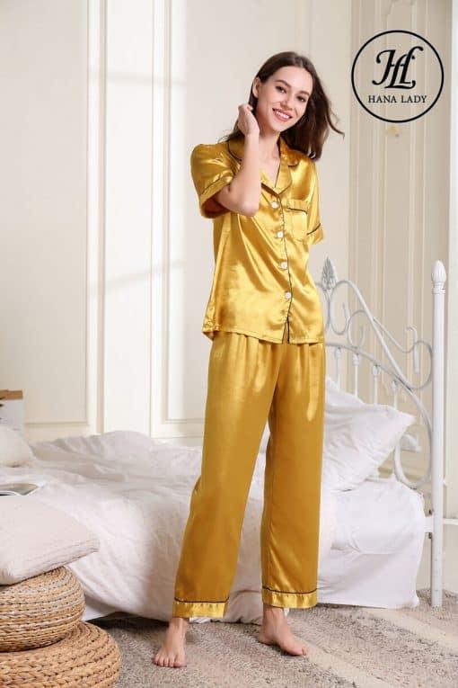 Pijama lụa vàng trơn cao cấp PJ189 6