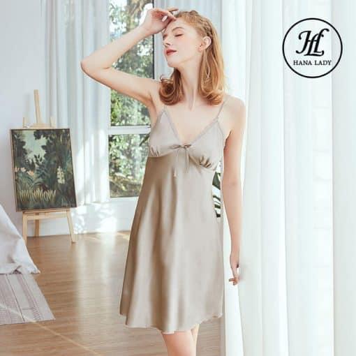 Váy ngủ lụa basic cao cấp xám VN291X 3