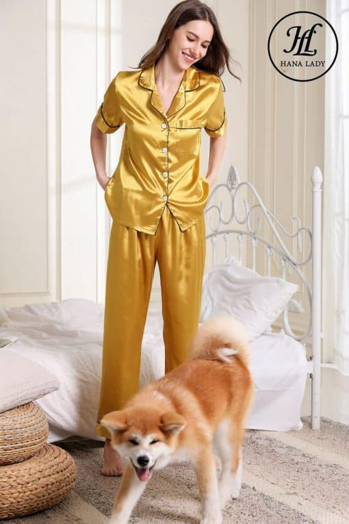 Pijama lụa vàng trơn cao cấp PJ189 4