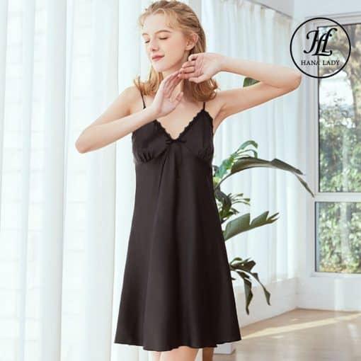Váy ngủ lụa basic đen cao cấp VN291B 4