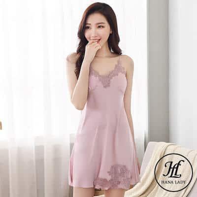 Váy ngủ lụa phối ren (kèm mút ngực rời) VN287 3