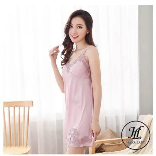 Váy ngủ lụa phối ren (kèm mút ngực rời) VN287 4