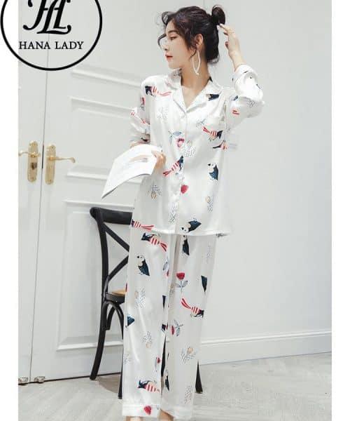 Đồ bộ pijama lụa nữ