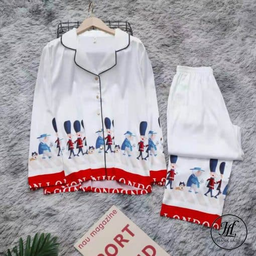 Pijama họa tiết hoàng gia lụa tằm cao cấp PJ196 12
