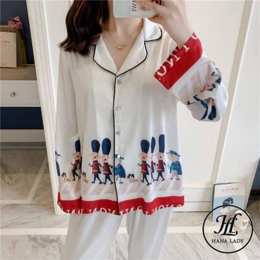 Pijama họa tiết hoàng gia lụa tằm cao cấp PJ196 11