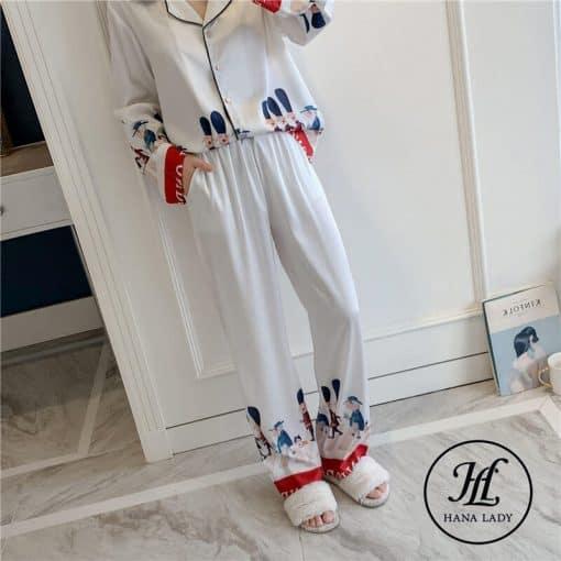 Pijama họa tiết hoàng gia lụa tằm cao cấp PJ196 10