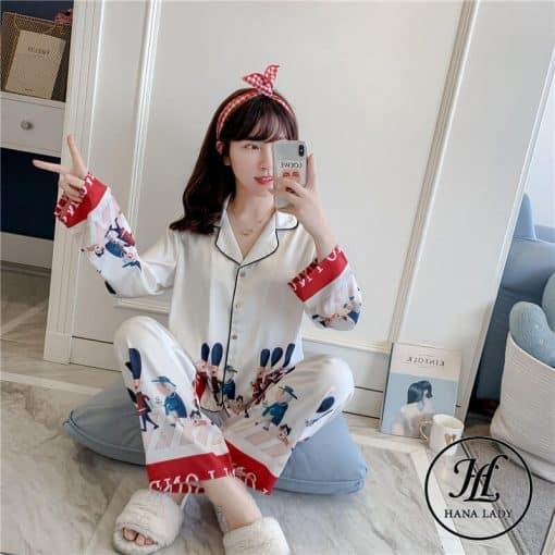 Pijama họa tiết hoàng gia lụa tằm cao cấp PJ196 3