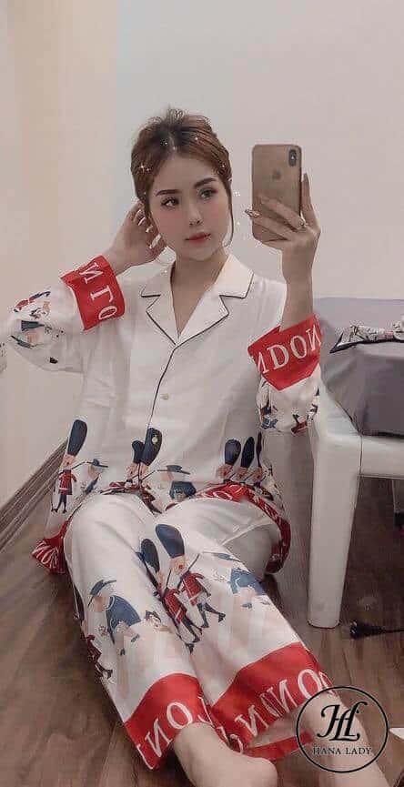 Pijama họa tiết hoàng gia lụa tằm cao cấp PJ196 7