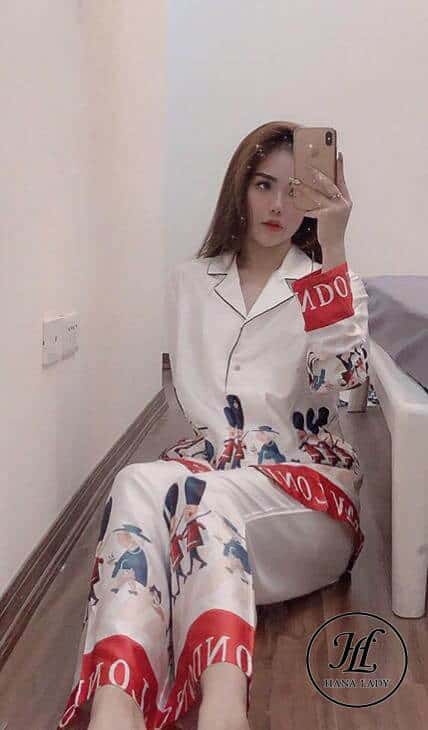 Pijama họa tiết hoàng gia lụa tằm cao cấp PJ196 6
