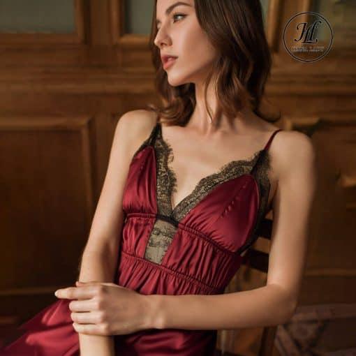 Váy ngủ lụa ren nhấn eo cao cấp đỏ VN298R 4