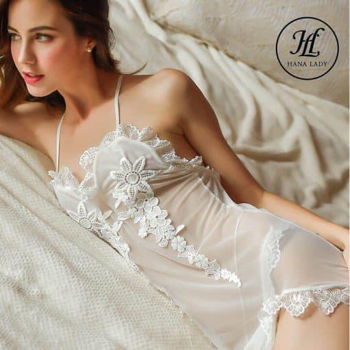 Váy ngủ voan phối ren hoa VN297 4