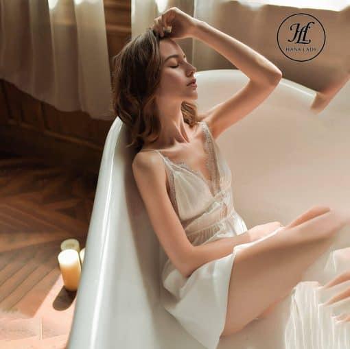 Váy ngủ lụa ren nhấn eo cao cấp trắng VN298W 4