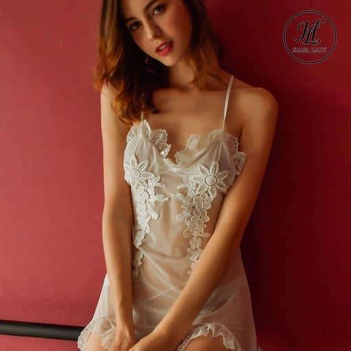Váy ngủ voan phối ren hoa VN297 5