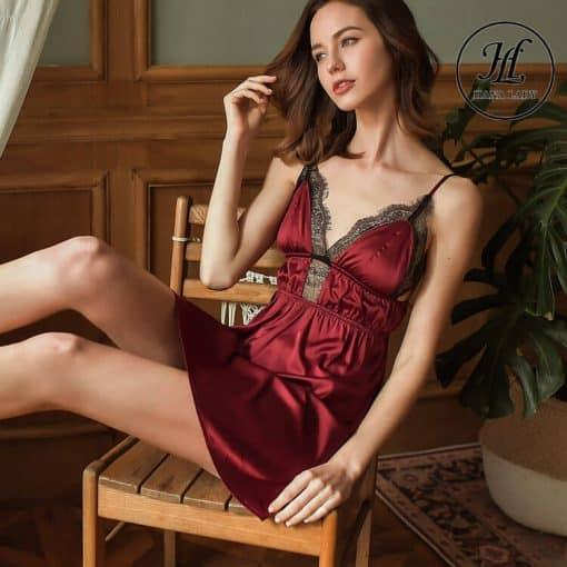 Váy ngủ lụa ren nhấn eo cao cấp đỏ VN298R 7