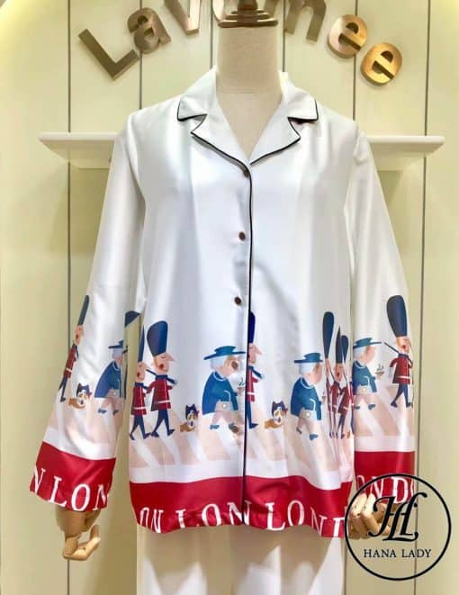 Pijama họa tiết hoàng gia lụa tằm cao cấp PJ196 9