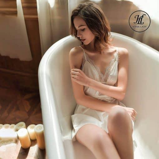 Váy ngủ lụa ren nhấn eo cao cấp trắng VN298W 7